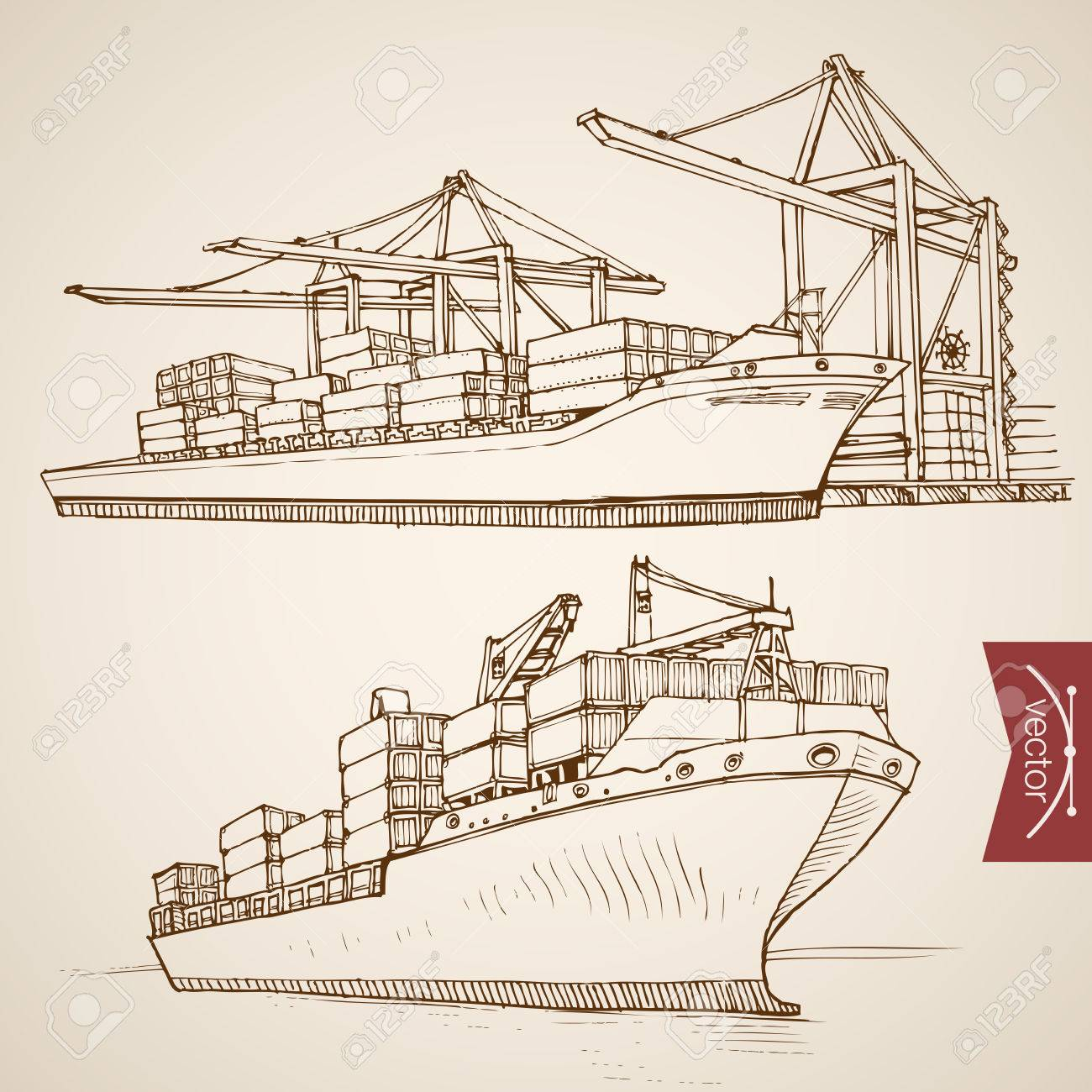 Engraving vintage hand drawn vector ship deliver and unload cargo