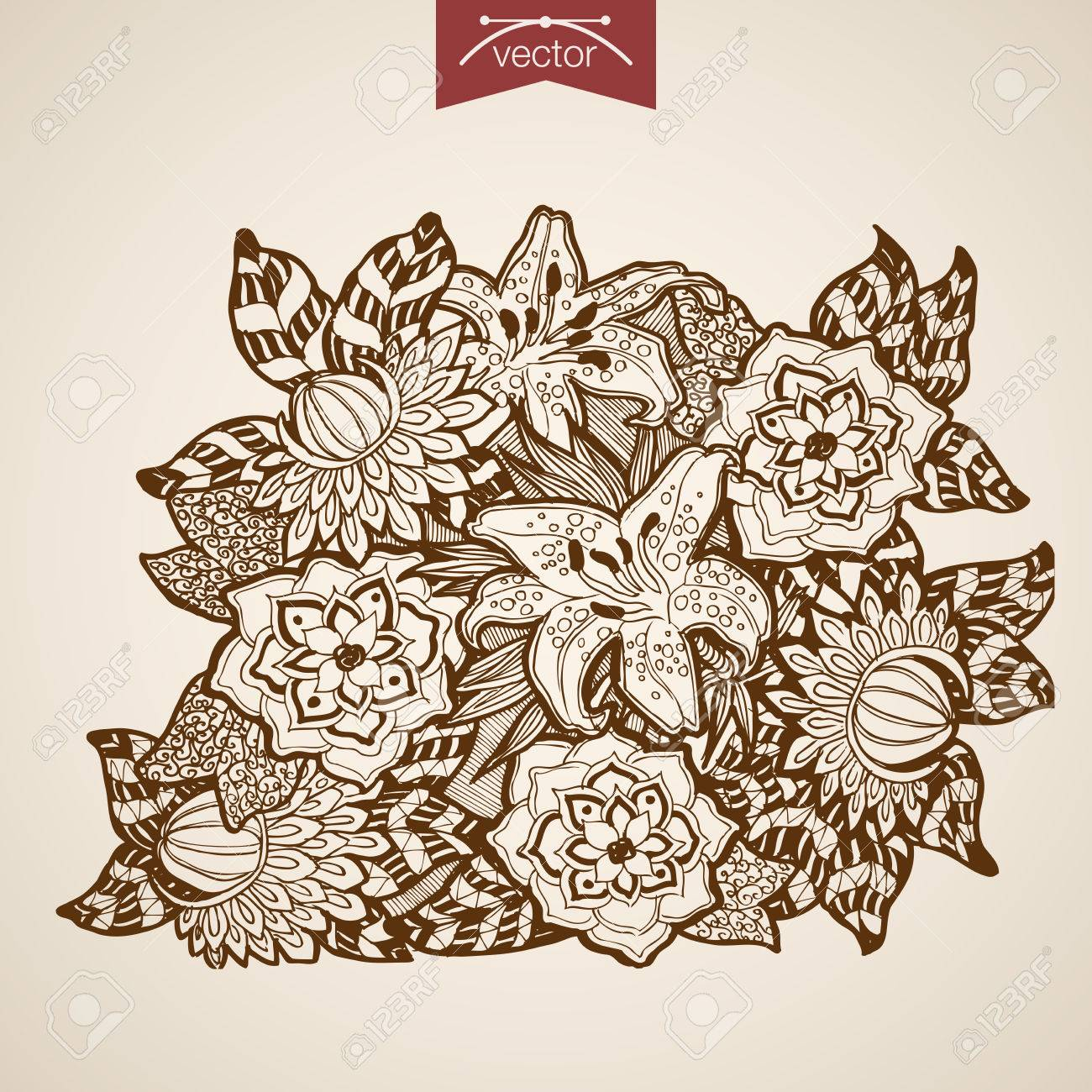 Engraving vintage hand drawn vector flower bouquet pencil sketch lilies floristic shop illustration stock