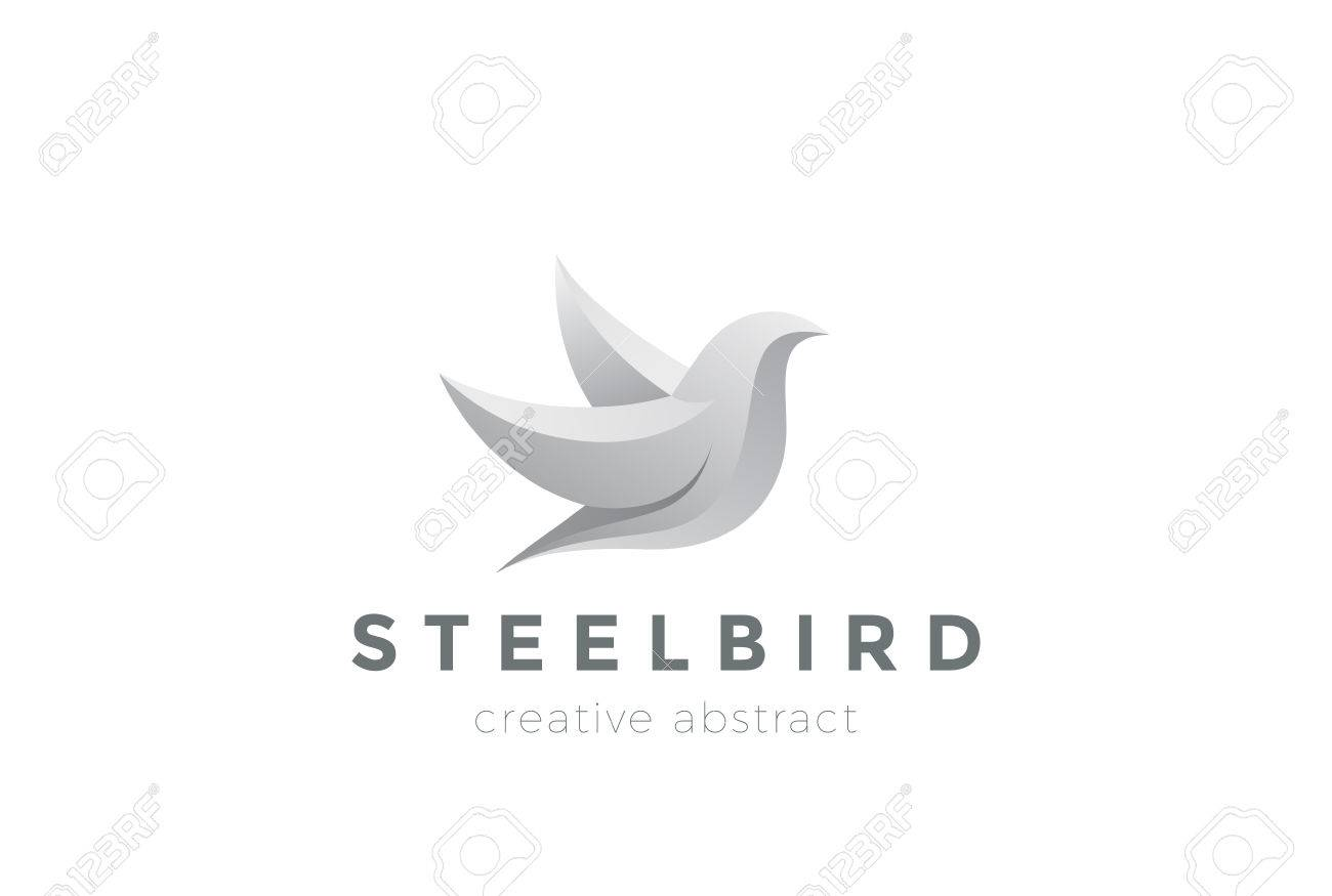 Steel Metal Flying Bird Abstract Design Vector Template 3D Dove Concept Icon Stock