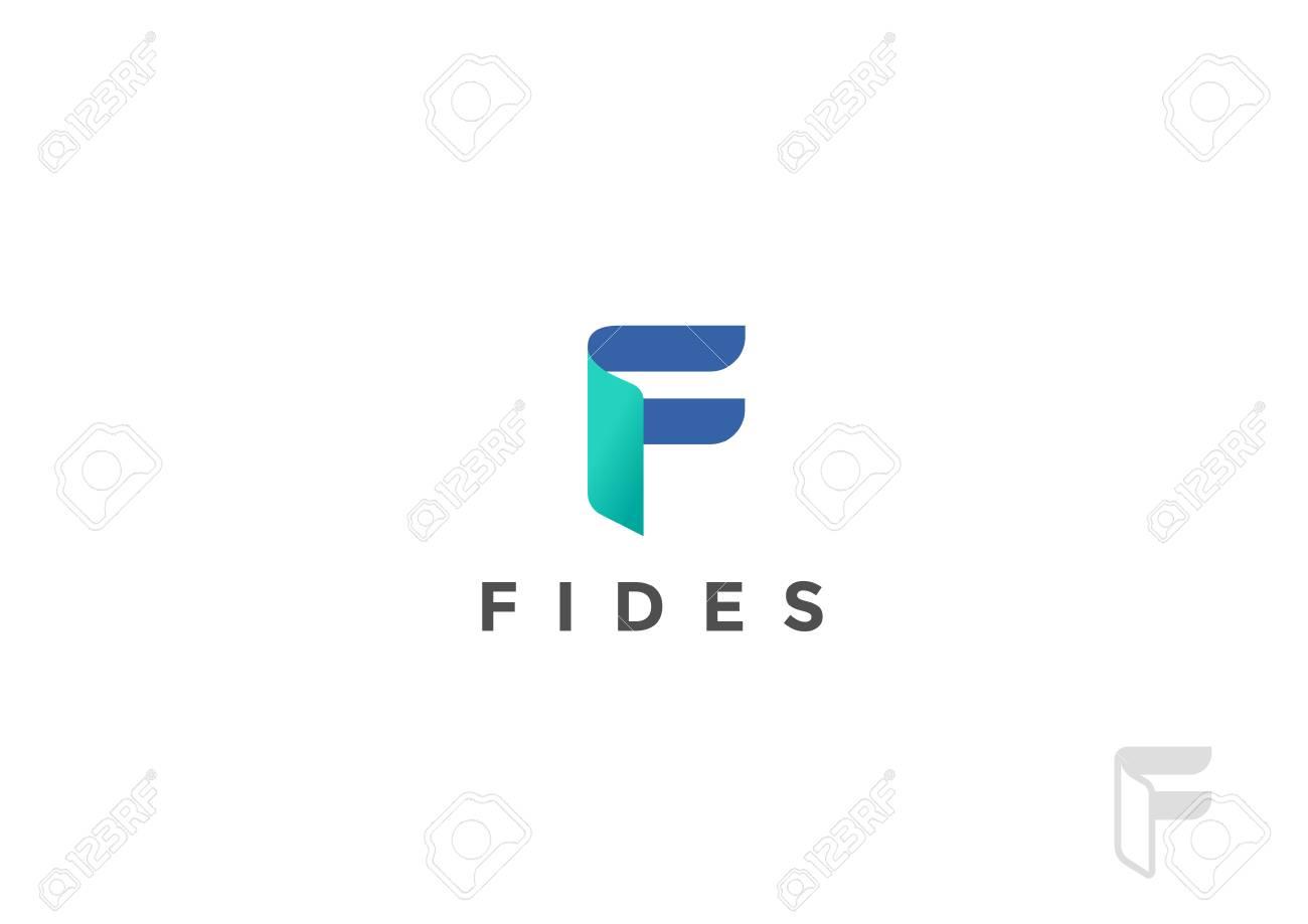 letter f ribbon design vector template creative monogram concept