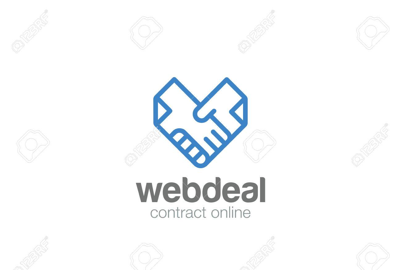 Deal Contract Documents Handshake Logo Abstract Vector Template. Docs Hands  Shaking Heart Shape Logotype Concept