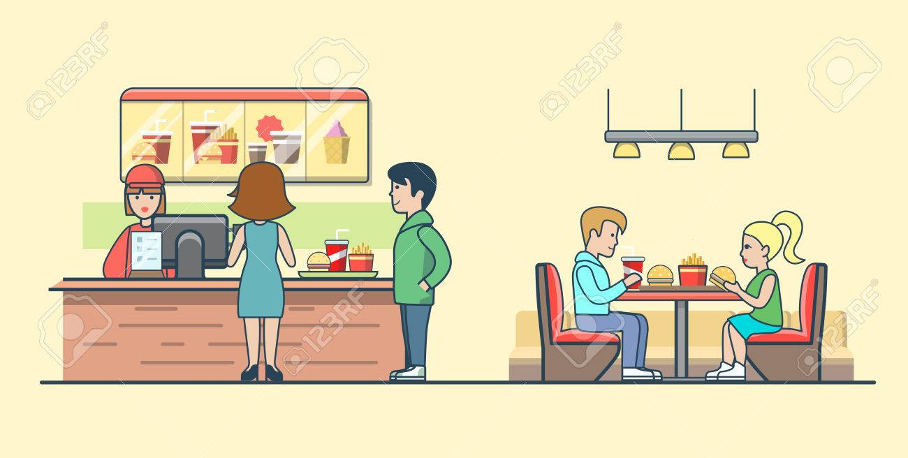 Linear Flat Couple eating burgers and fries, clients ordering food on bar vector illustration. Waiter, man, woman, client characters. Fast food concept. - 63733851