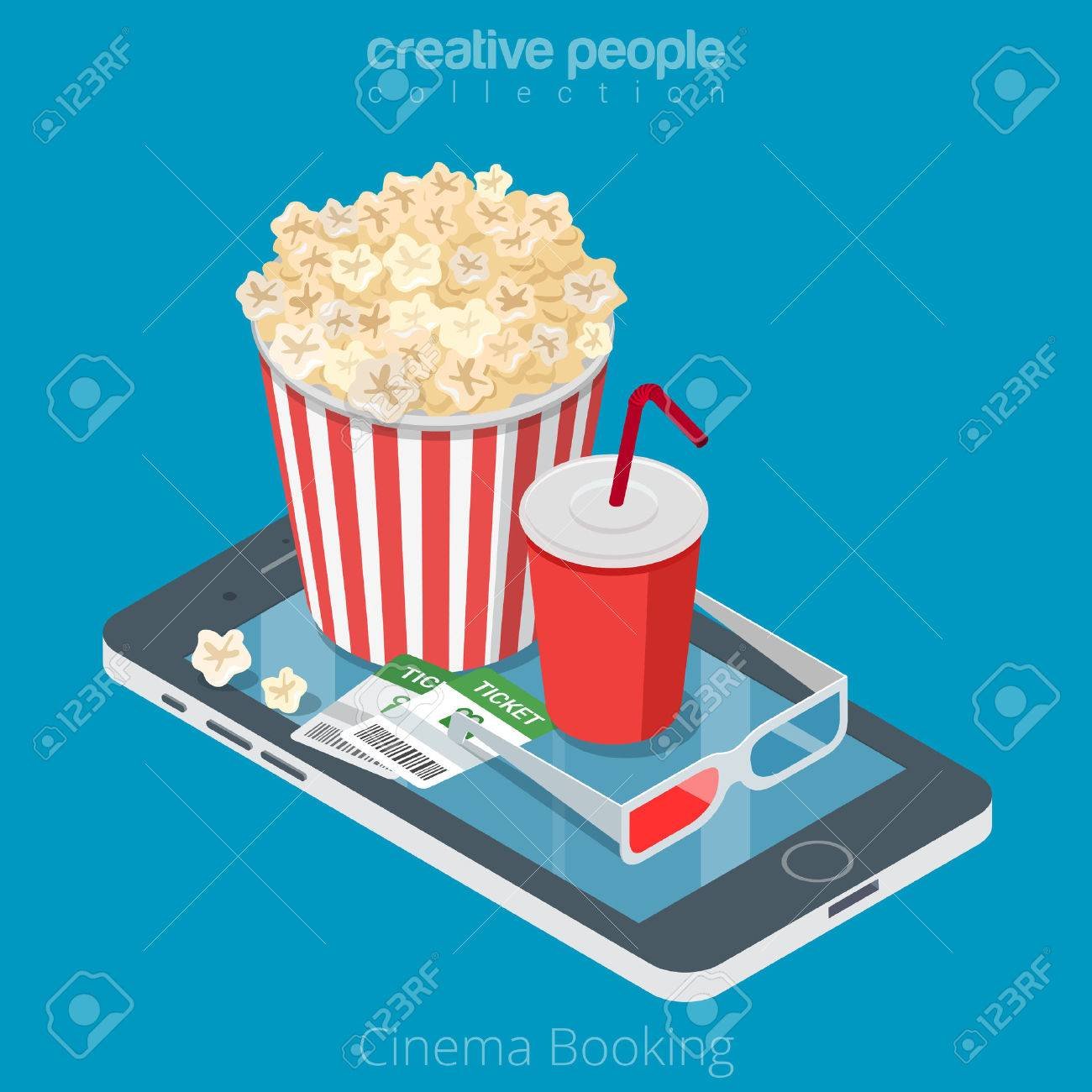 Flat isometric Cinema tickets, pop corn and coda on smartphone vector illustration. 3d isometry online mobile booking app concept. - 63733887
