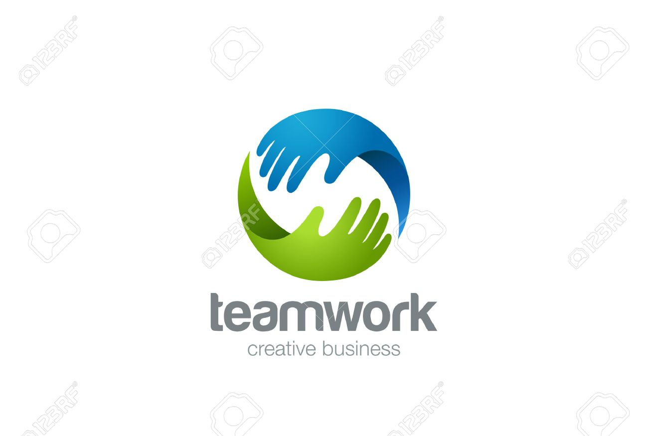 Teamwork Logo Abstract Two Hands Helping. Circle Design Vector ...
