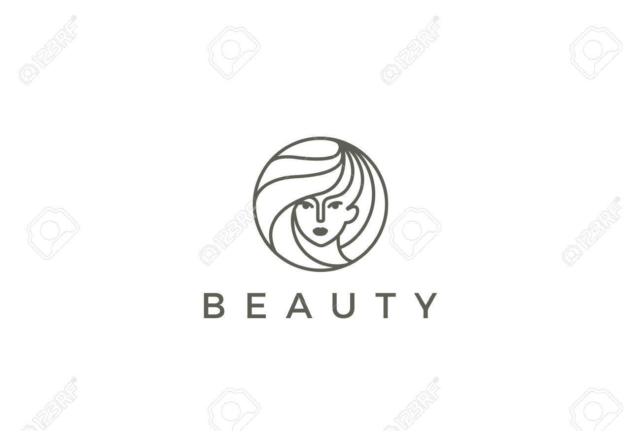 beauty hairdresser salon woman logo design vector template circle