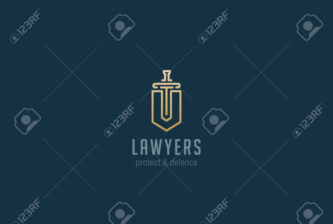 Lawyer Attorney Advocate Logo design vector template Linear style. Shield Sword Law Legal firm Security company logotype. Protect defense concept icon - 63734039