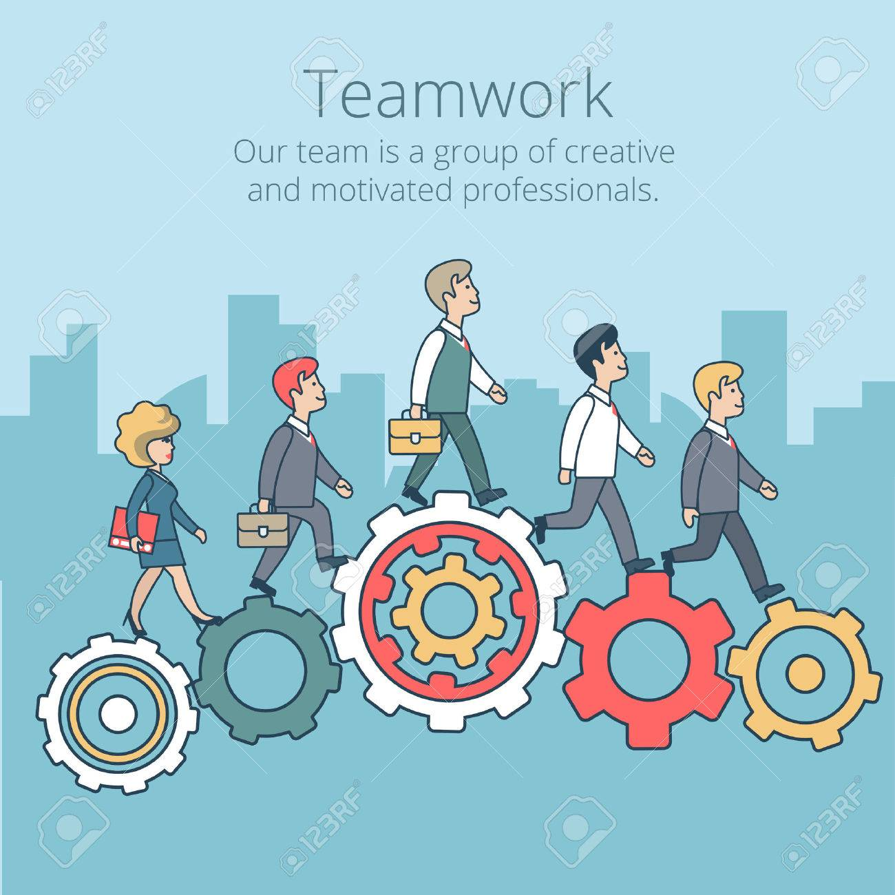 Linear Flat Businesspeople synchronously walking gearwheels vector illustration. Business corporate company professional team work concept. Stock Vector - 63745870