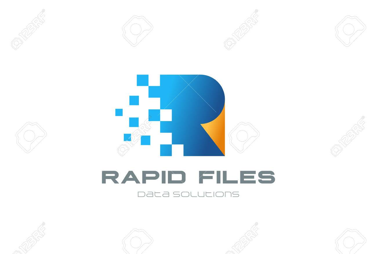 Fast Speed Digital Documents Logo design vector template. Web page shit of paper file transferring Logotype concept icon - 63745968