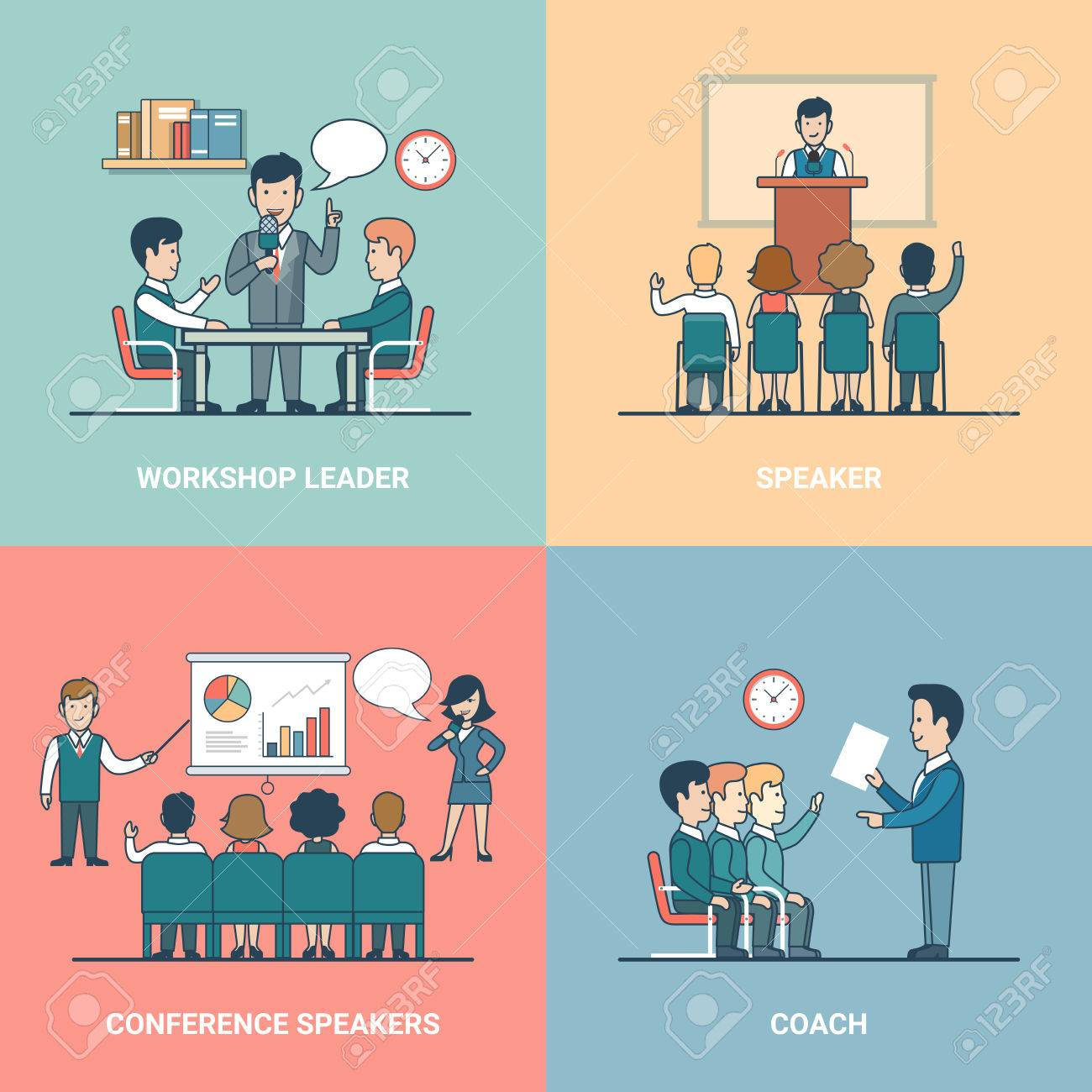 Linear Flat training variations in office rooms with furniture vector illustration set. Conference Speaker, Coach, Workshop Leader and listeners characters. Business professional Retraining concept. - 63745985