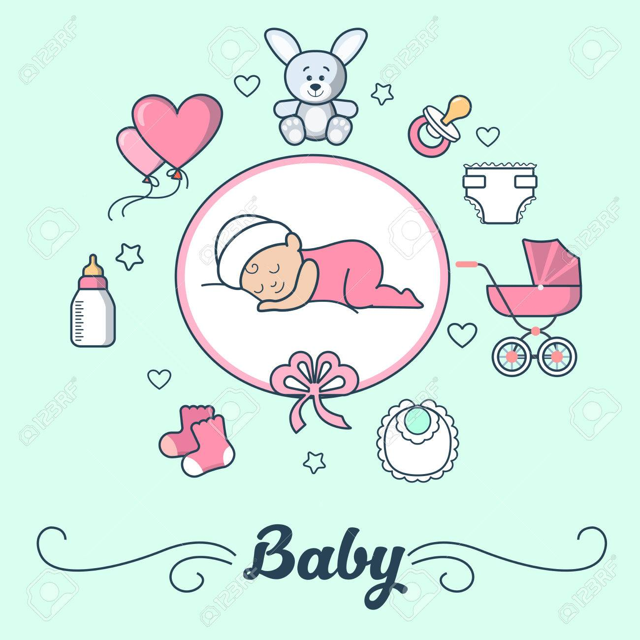 linear flat little girl sleeping on cloud first year of baby vector illustration template