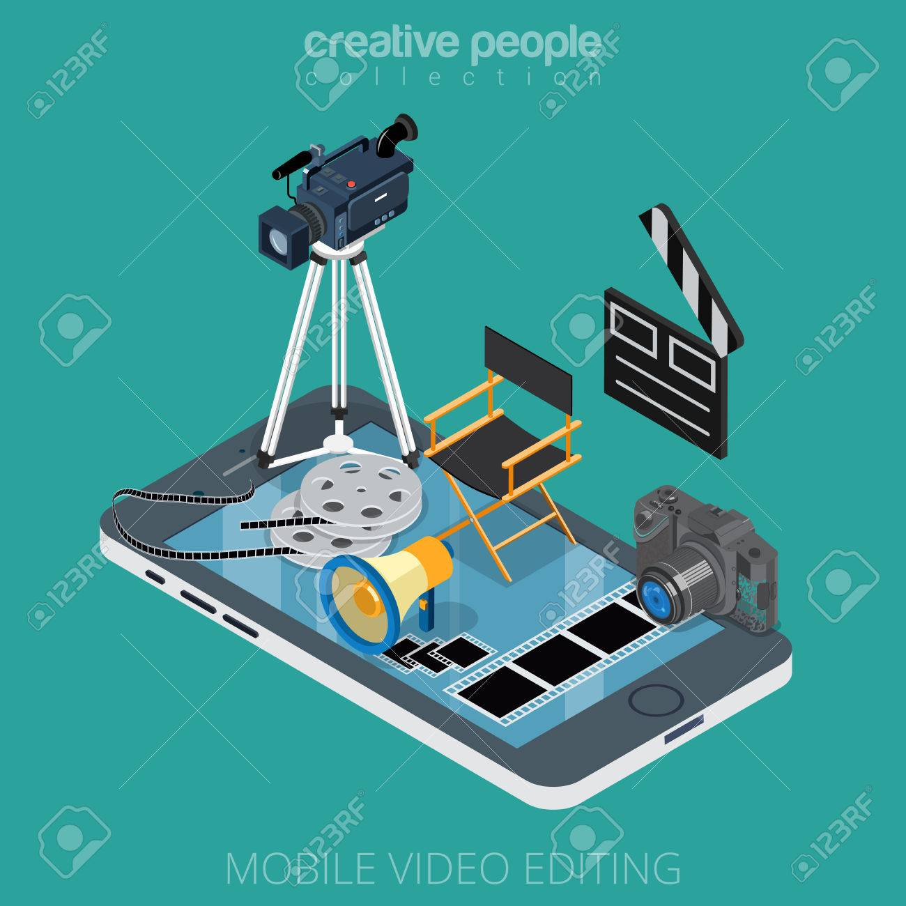 Flat isometric video content editing icons on smartphone vector illustration. 3d isometry motion media app concept. Camcorder, clapper, DSLR camera, film, director chair, filmstrip objects. - 63746199