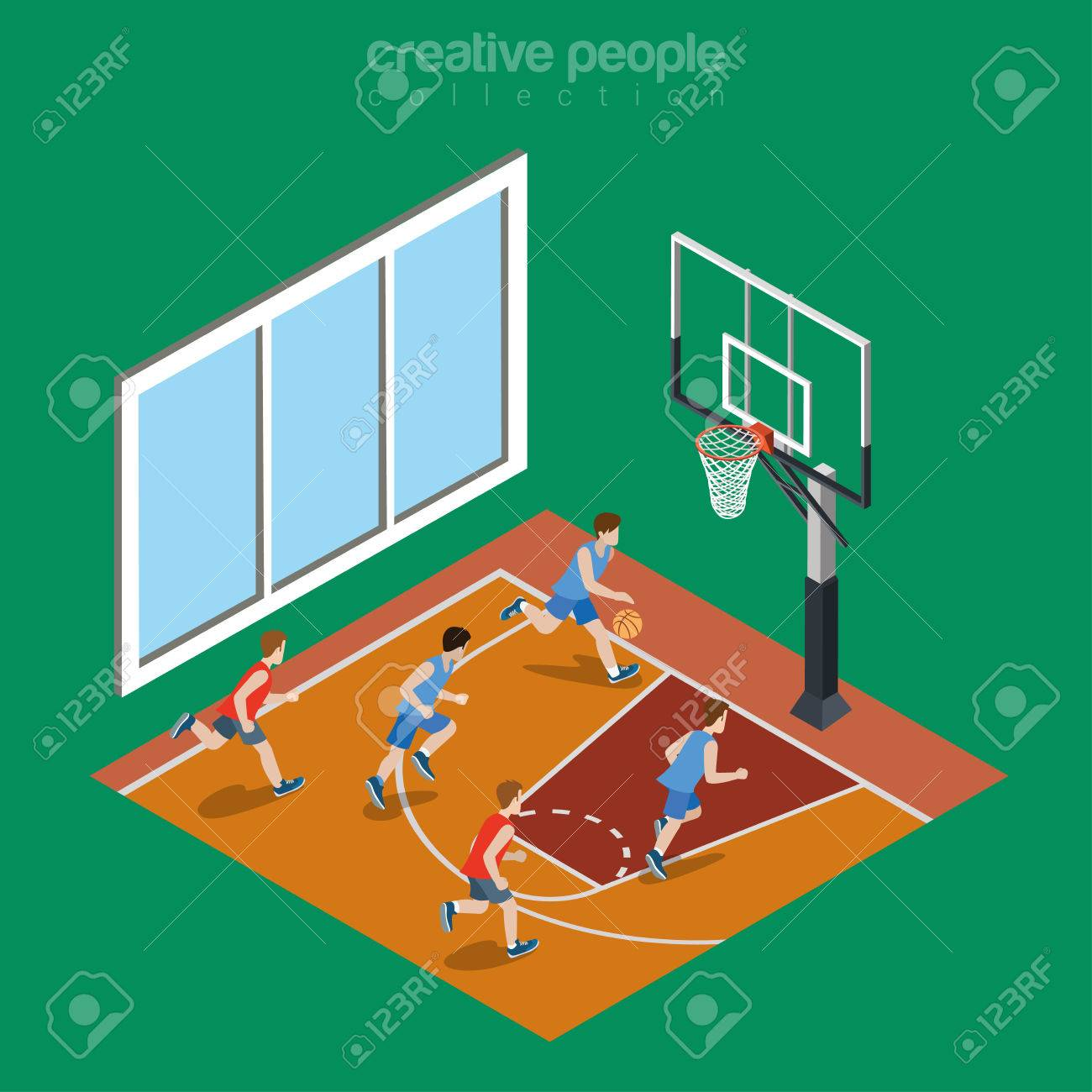 Isometric Flat Indoor Basketball Court Playground Vector ...