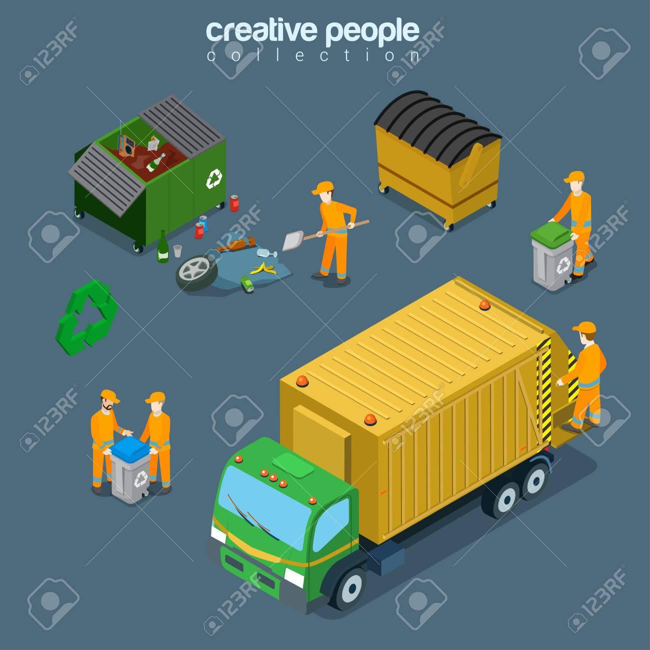 Flat Isometric Garbage Man Gathering Rubbish Into Recycling ...