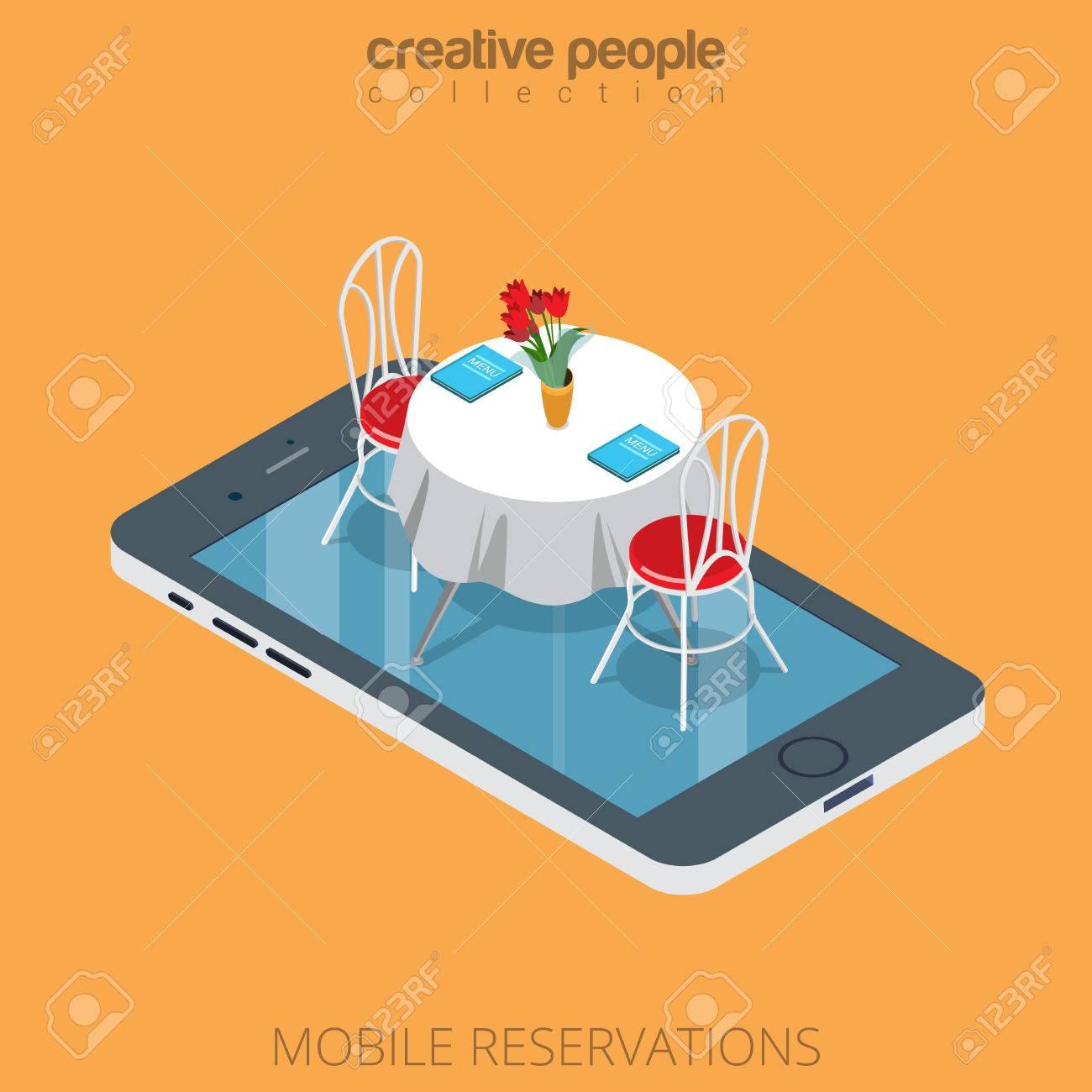 Flat Isometric Restaurant Table On Smartphone Vector Illustration - Restaurant table reservation app