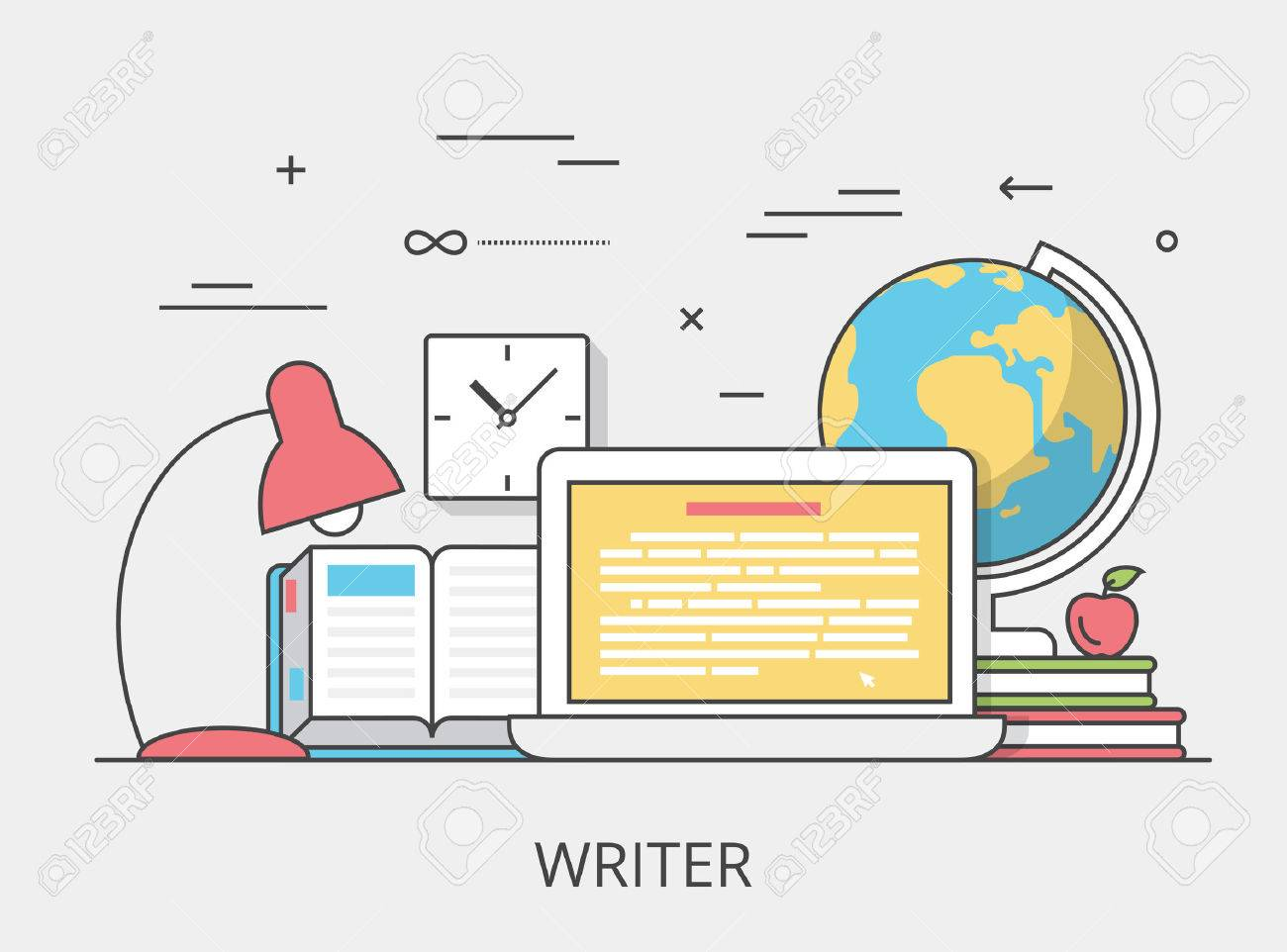 Linear Flat copywriting writer service website hero image vector illustration. Digital services tools and technology concept. Laptop, book, text editor software interface. Stock Vector - 64110471