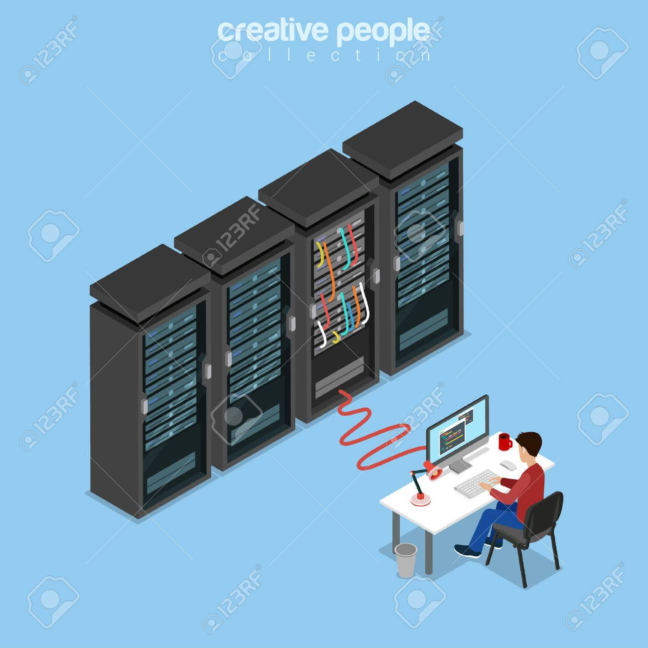 Flat isometric System Administrator, Server Admin, IT guy, Programmer or code developer working on computer, connected to server rack vector illustration. 3d isometry Technology and Telecom concept. - 64110473