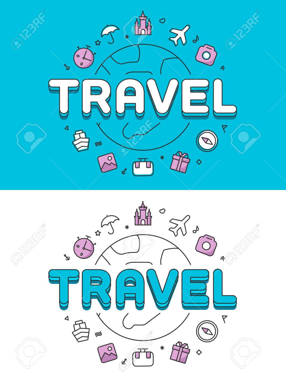Linear Flat TRAVEL Word Over Globe And Icons Website Hero Image Vector Illustration Set World