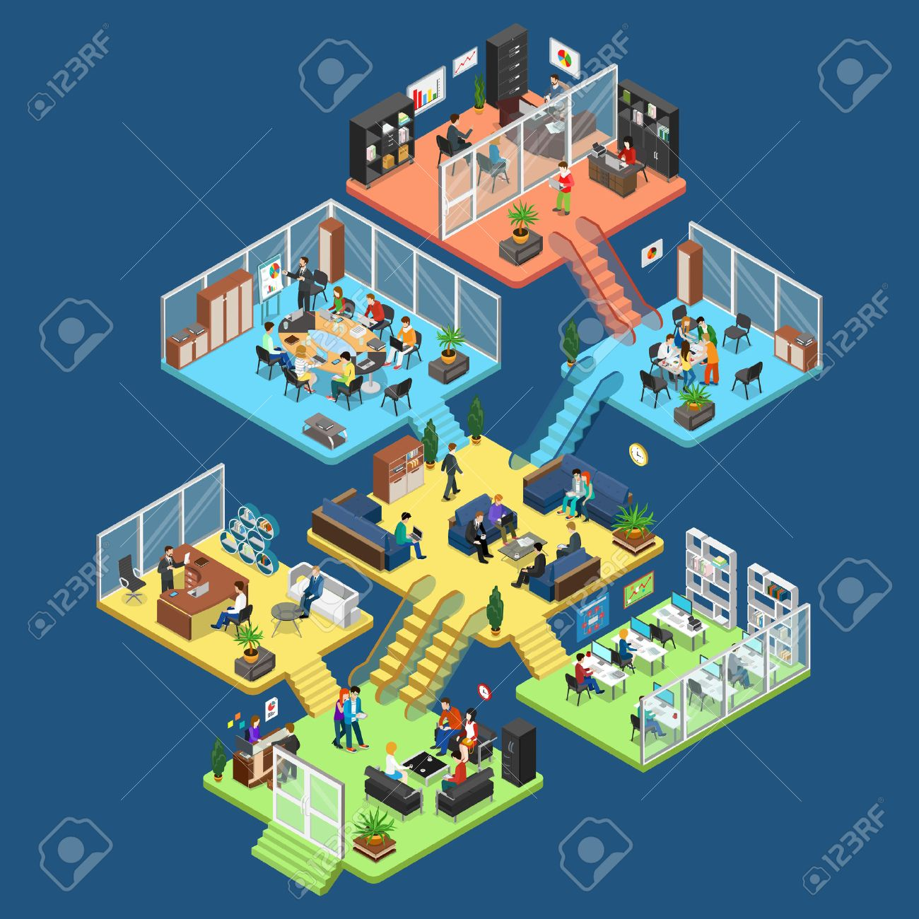 Flat isometric office center floors interior, company departments with staff vector illustration. 3d isometry Business Architecture concept. Director, accountant, manager, client, secretary characters - 64110869
