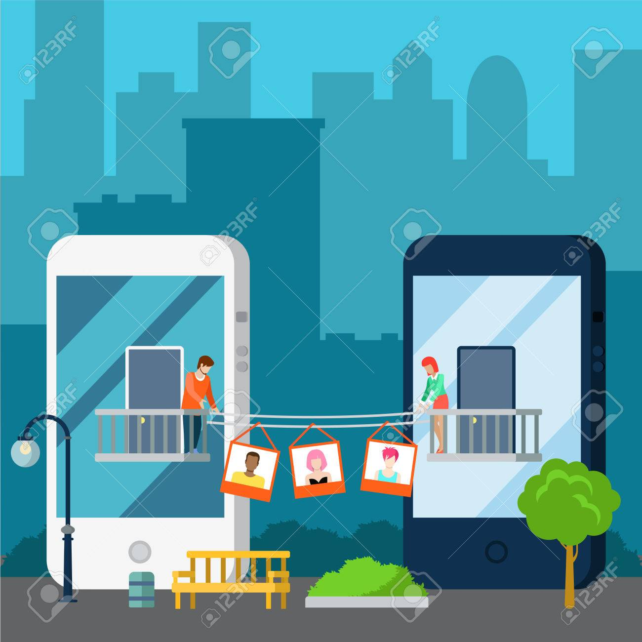 Flat isometric couple sharing photos, standing on balcony on huge smartphones buildings, cityscape background and street exterior vector illustration. 3d isometry Online dating, Virtual love concept. - 64110963