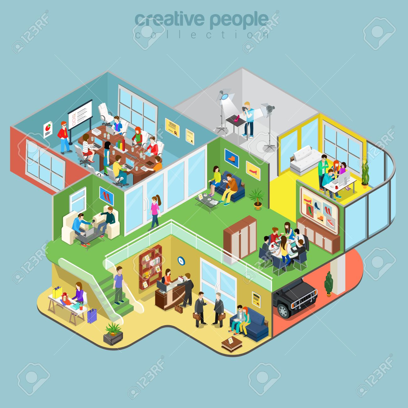 Flat isometric Creative Workshop office floors interior, company departments with staff vector illustration. 3d isometry Architecture, Teamwork concept. Director, designer, manager, client, reception. - 64110930