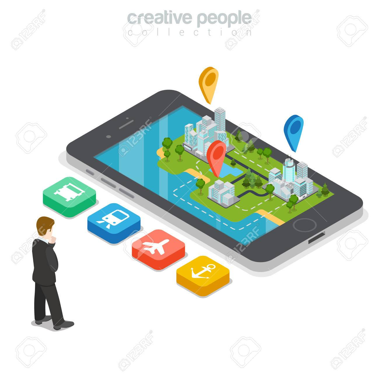 Flat isometric Businessman choosing right transport button, huge smartphone with buildings and GEO location marks over vector illustration. 3d isometry GPS, city transportation concept. - 64111004
