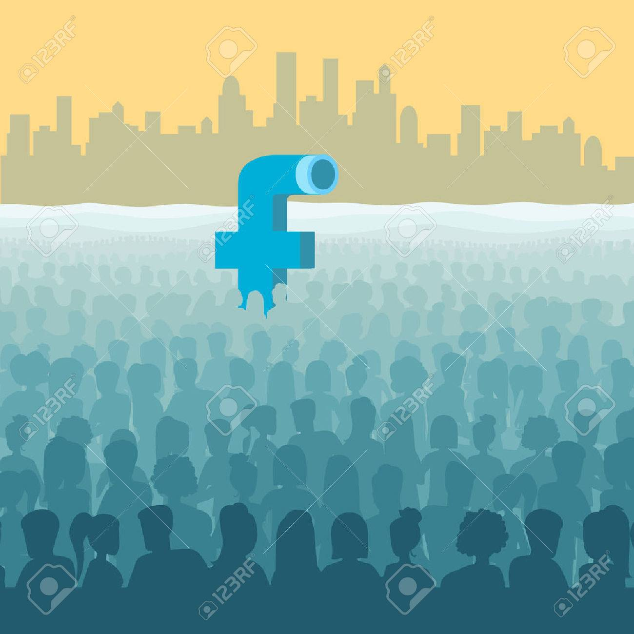 Flat isometric Facebook look like submarine periscope in ocean of human silhouettes, cityscape background vector illustration. 3d isometry Social Network, Marketing concept. Stock Vector - 64111029