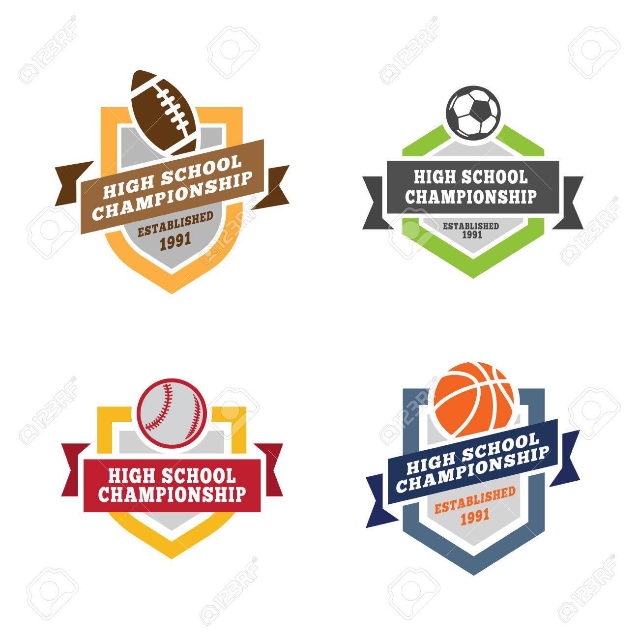 Sport Logos Design-Vektor-Vorlagen: Fußball, Fußball, Baseball ...