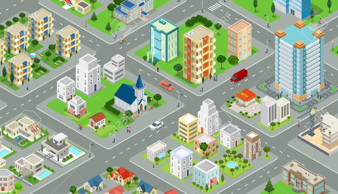 Flat isometric megalopolis blocks infographics with roads and crossroads illustration - 65792234
