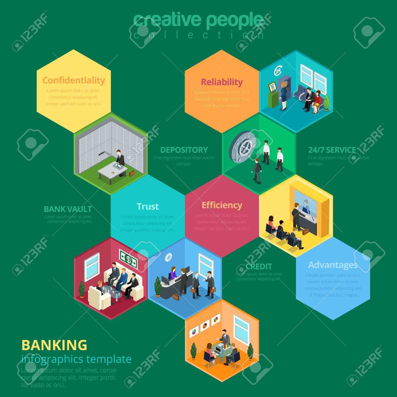 Piso Isométrica Ilustración Interior Del Banco. Banca Celular ...