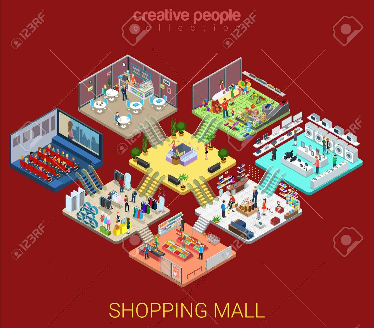Flat isometric Shopping mall interior illustration. - 65793264