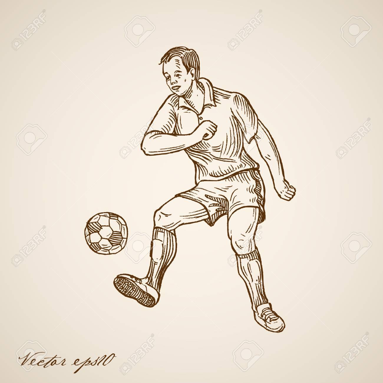 Engraving vintage hand drawn football soccer offensive forward player doodle collage stock vector
