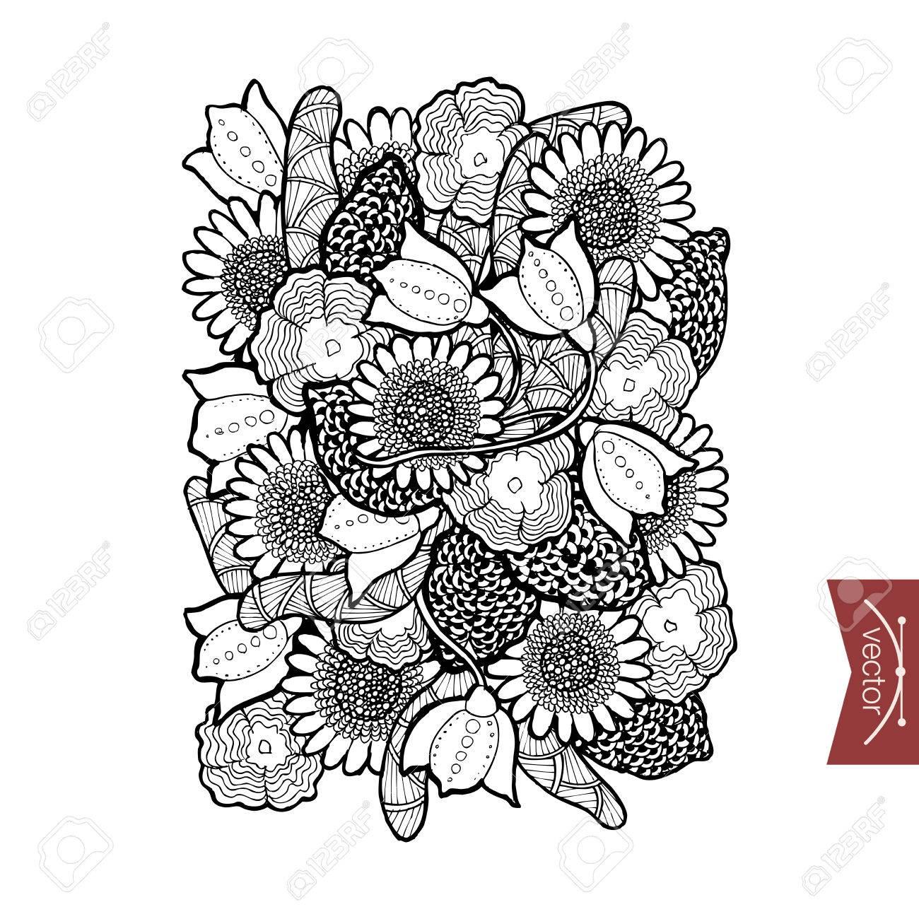 Engraving vintage hand drawn floral elements doodle collage pencil sketch floristic shop illustration stock