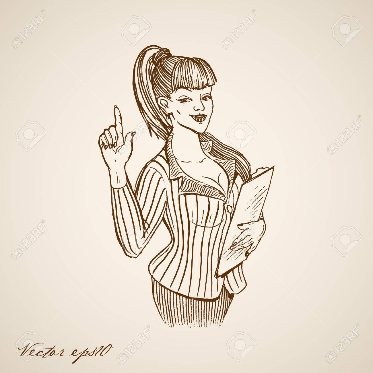 Banque dimages gravure main cru dessinée secrétaire femelle avec dossier doodle collage pencil sketch réceptionniste daffaires illustration