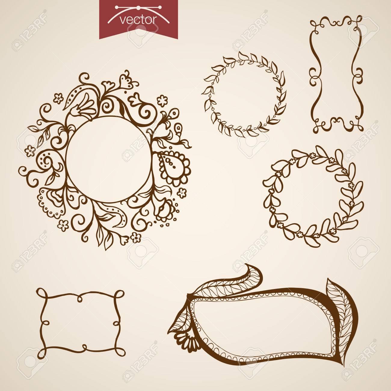 Engraving Vintage Hand Drawn Frames With Floral Elements Doodle ...
