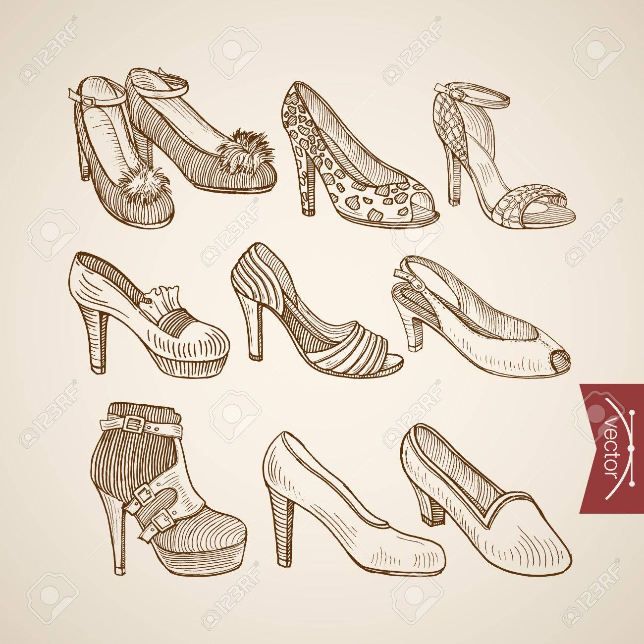 f1c4a3f3e3a902 Engraving vintage hand drawn sandals shoes on heels doodle collage. Pencil  Sketch retro fashion illustration