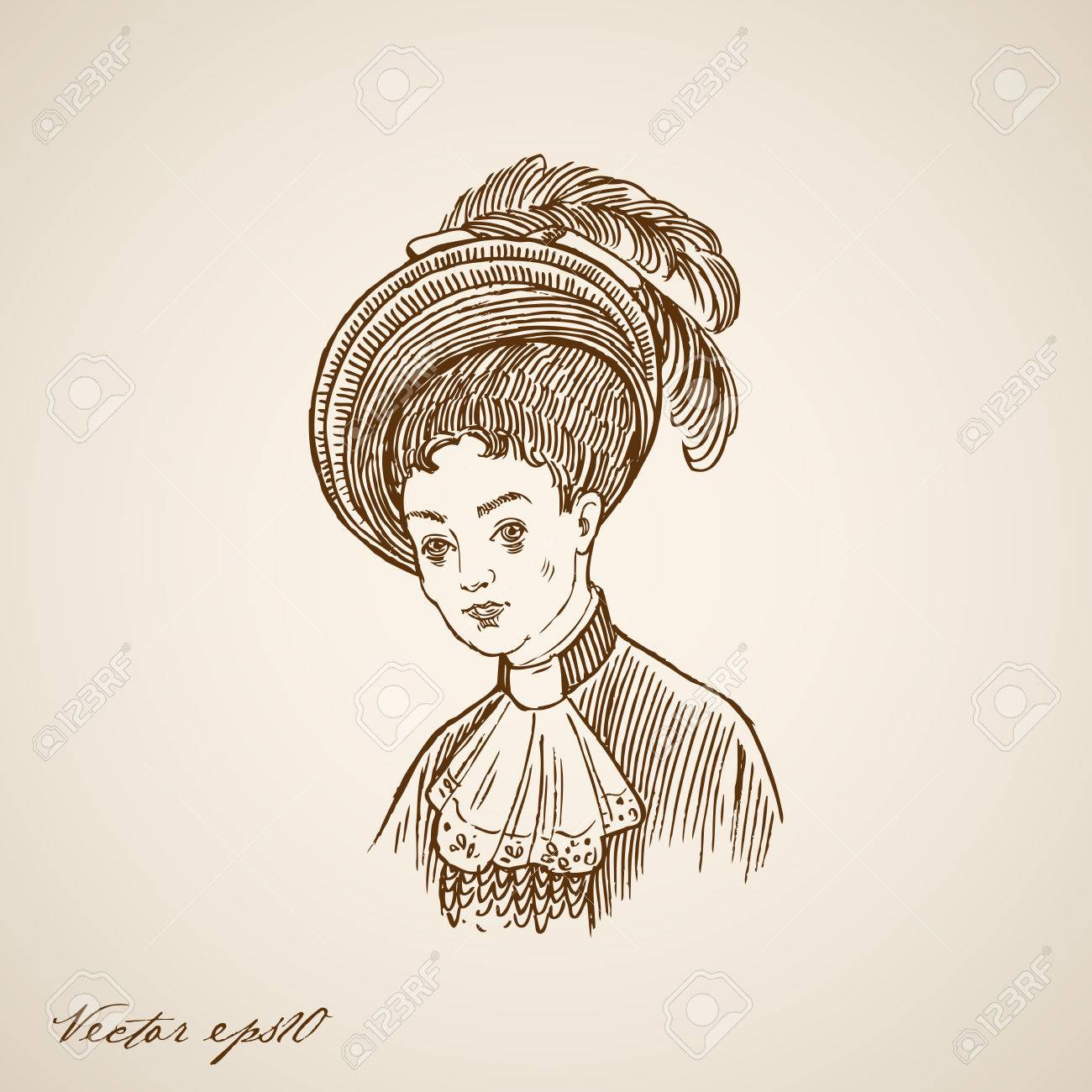 Banque dimages gravure mode vintage rétro dame en chapeau à plumes main doodle dessiné collage pencil sketch portrait de femme illustration