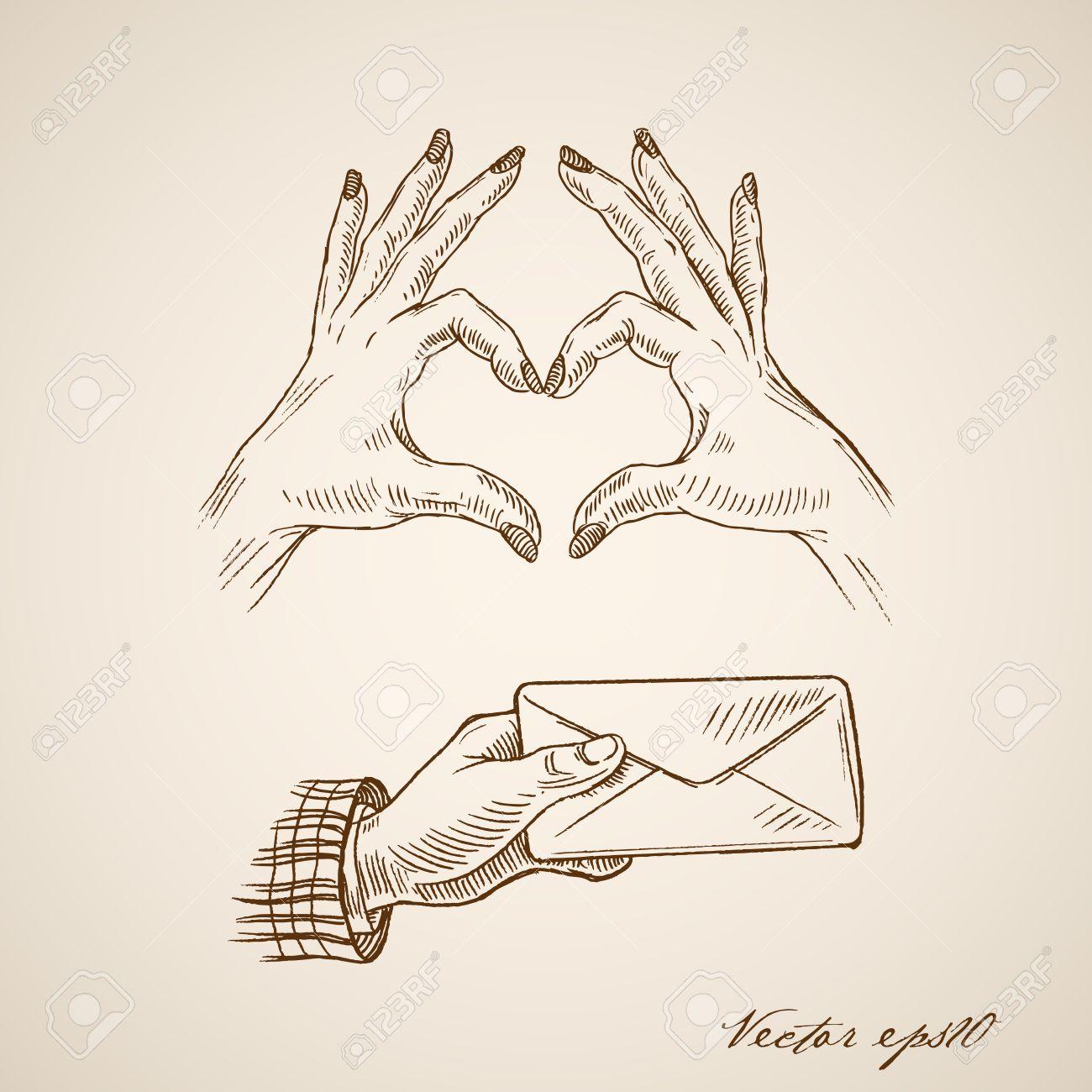 Engraving Vintage Hand Drawn Female Hands Making Heart Symbol