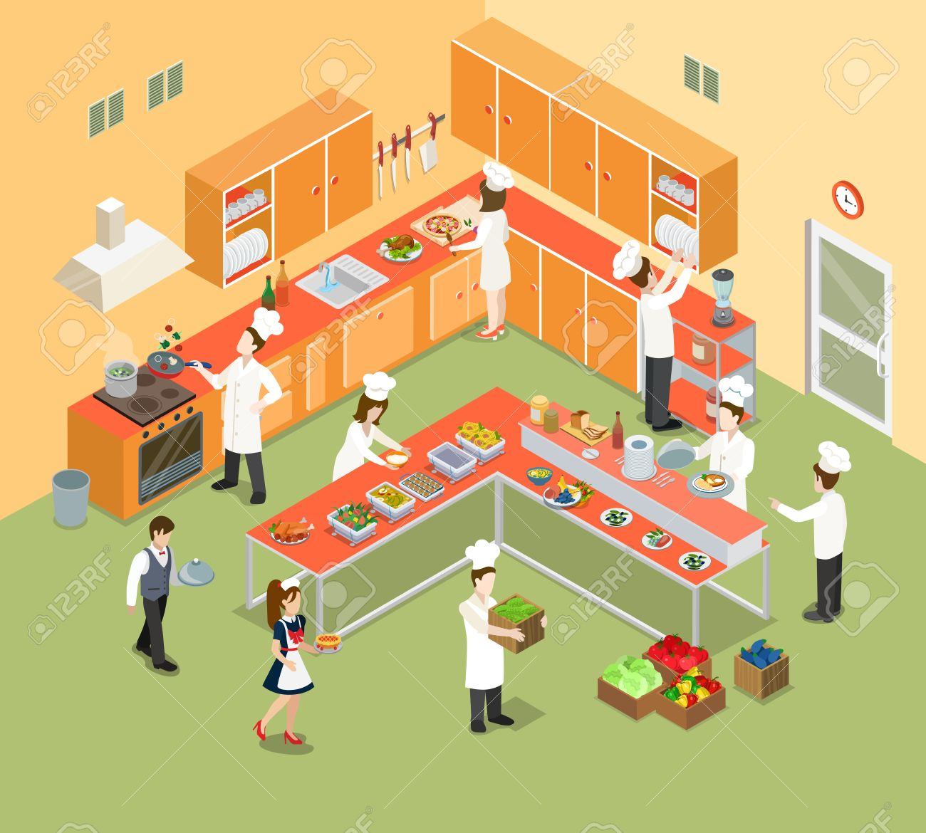 Restaurant Kitchen Illustration flat isometric restaurant kitchen interior with chief, cook and