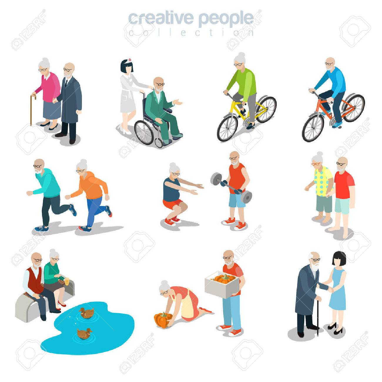 Flat isometric old couple walking, riding bicycle, gardening, running, making exercise vector illustration. 3d isometry happy life concept. - 69427218