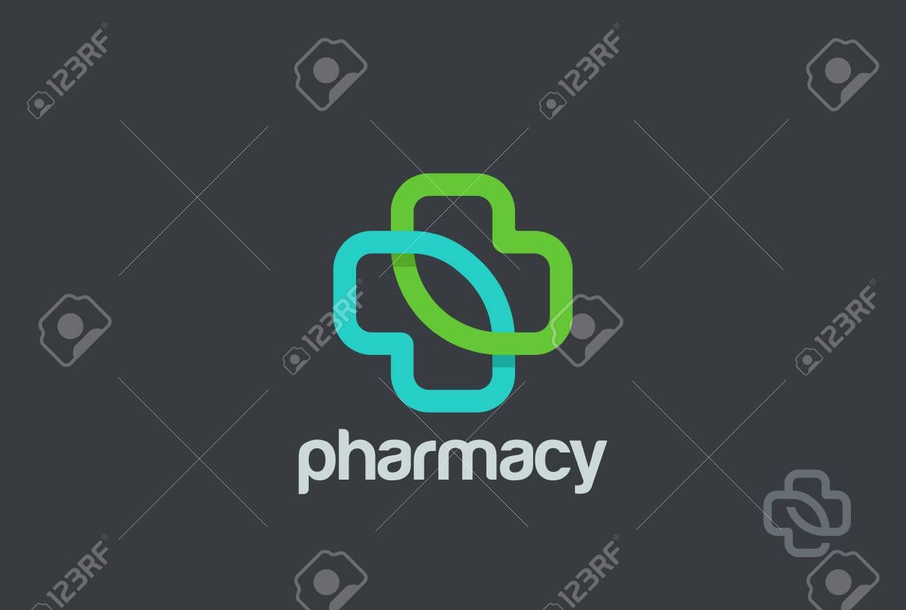 pharmacy logo eco green cross design vector template clinic