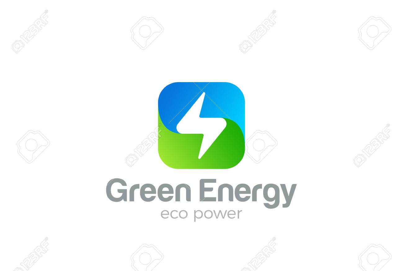 Flash Logo square design vector template. Thunderbolt symbol. Green Energy Eco Power electric Logotype concept. - 69594574