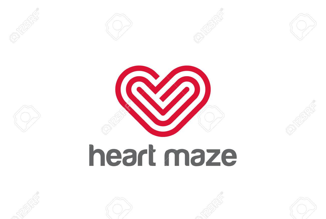 Heart Logo design vector template. St. Valentine day of love symbol. Cardiology Medical Health care Logotype concept icon - 70451724