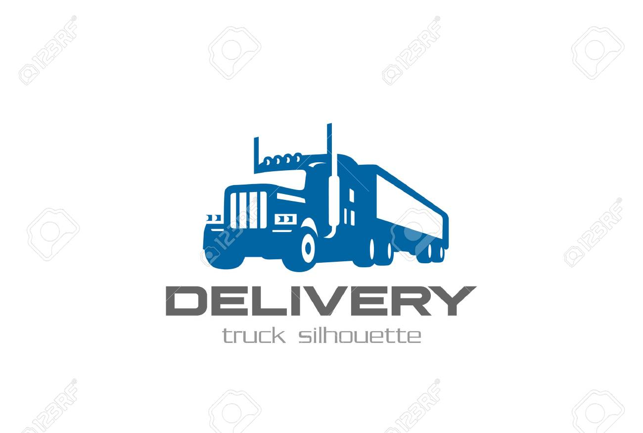 e9642993fd ... silhouette Logotype concept icon. Cargo Delivery Truck Logo design  vector template Negative space style. Shipping Logistic Heavy lorry car