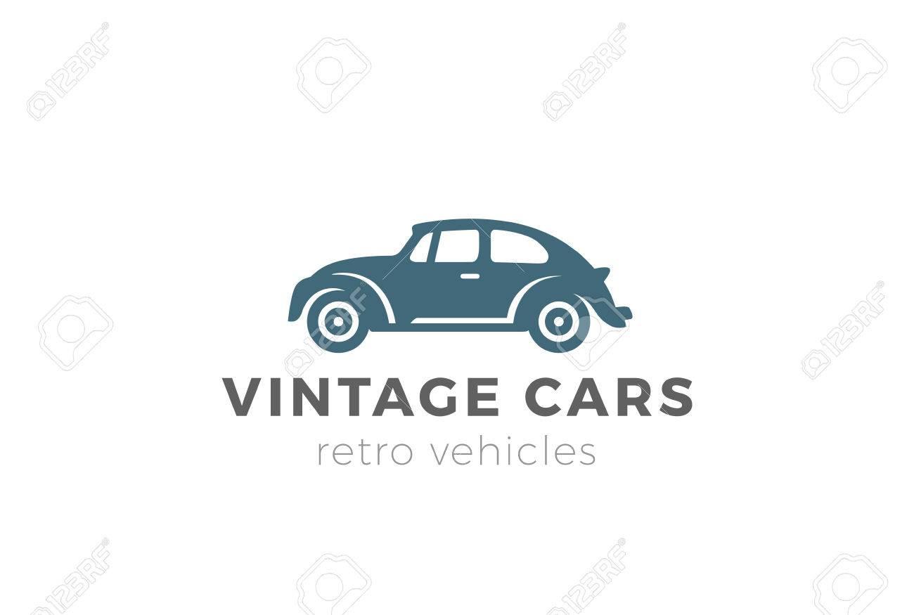 Vintage Car Logo Design Vector Template Negative Space Style. Retro ...