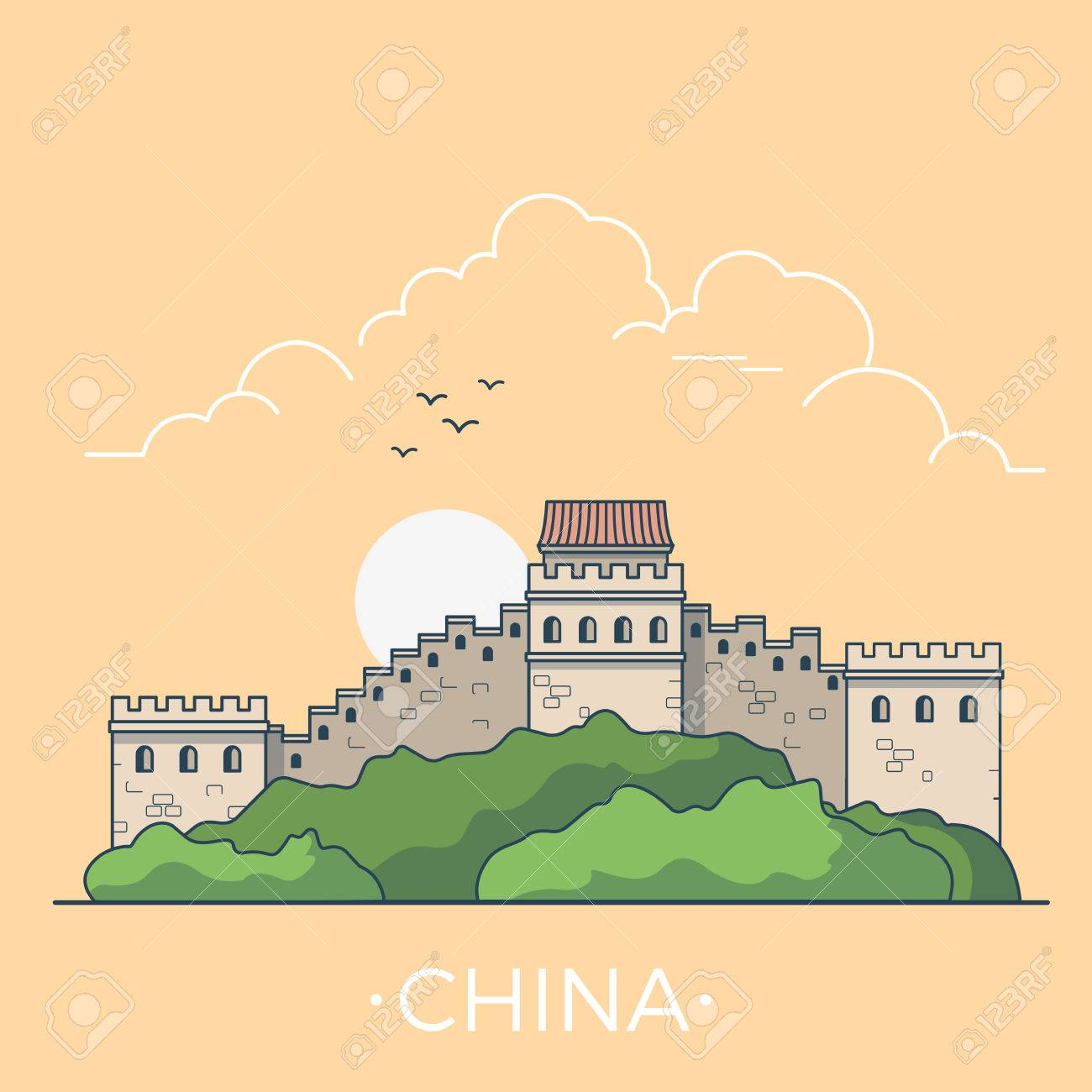 Funky Great Wall Of China Coloring Page Vignette - The Wall Art ...