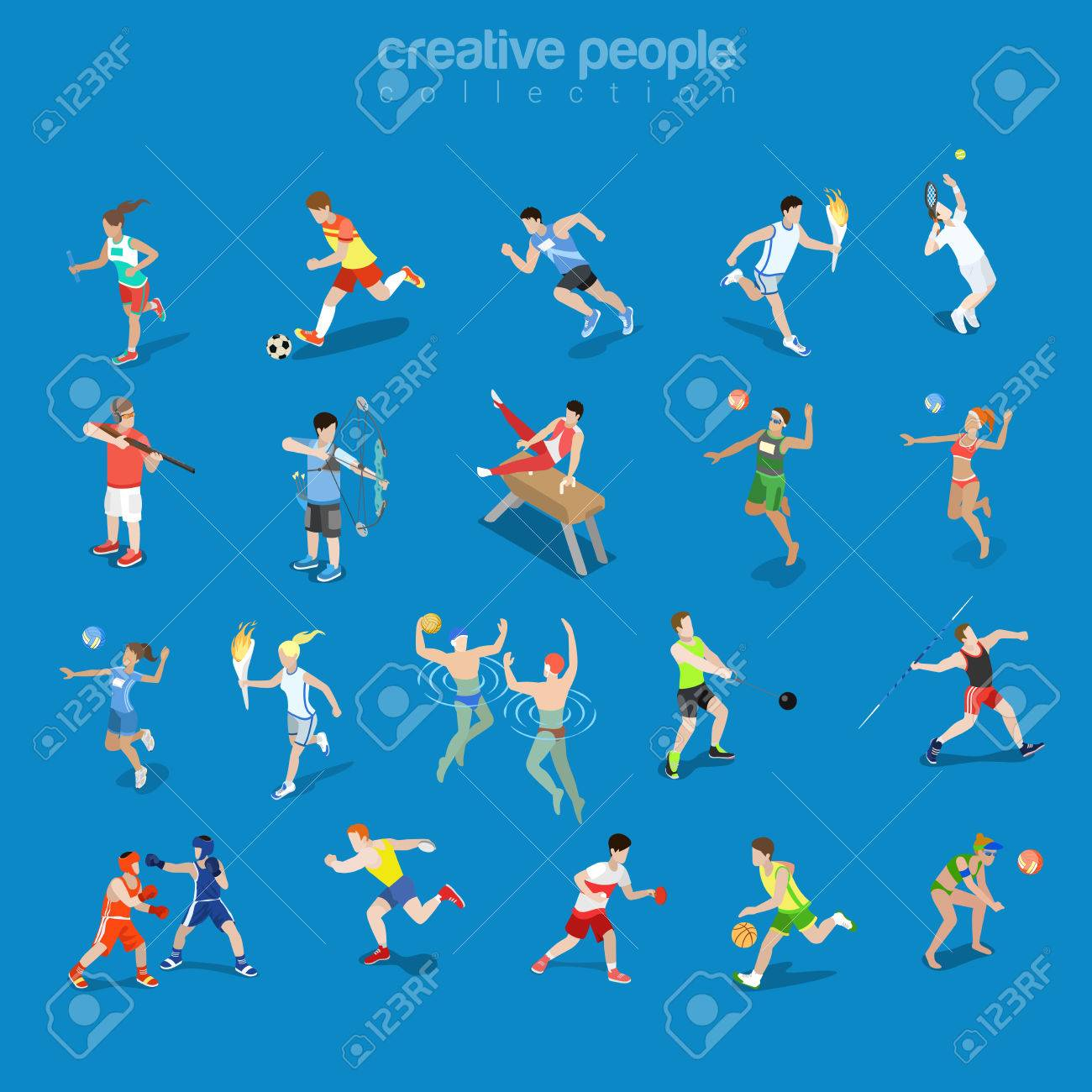 Flat isometric sportsmen in competitive scenes vector illustration set. Team and individual sports 3d isometry concept. Athlete, Swimmer, Tennis, Volleyball and Archery Players. - 72686297