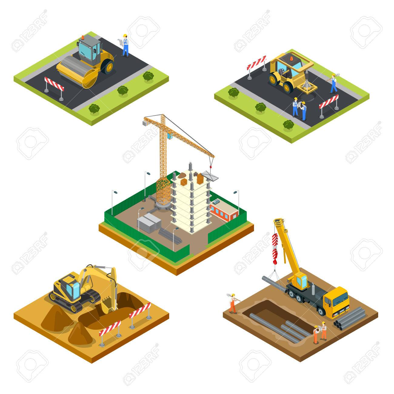 Flat isometric male workers laying asphalt, pipes under the ground, building house vector illustration set. 3d isometry special machinery, city construction concept. - 72686321