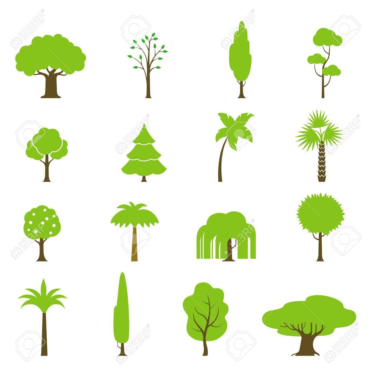 flat green trees vector illustration set fir tree palm oak rh 123rf com trees victoria tree vector plan