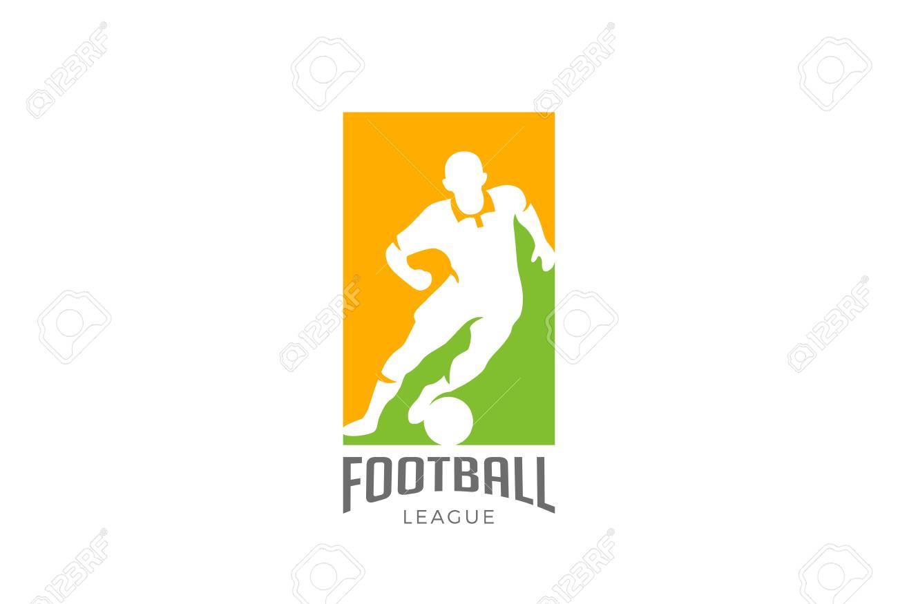 football player silhouette logo design vector template soccer
