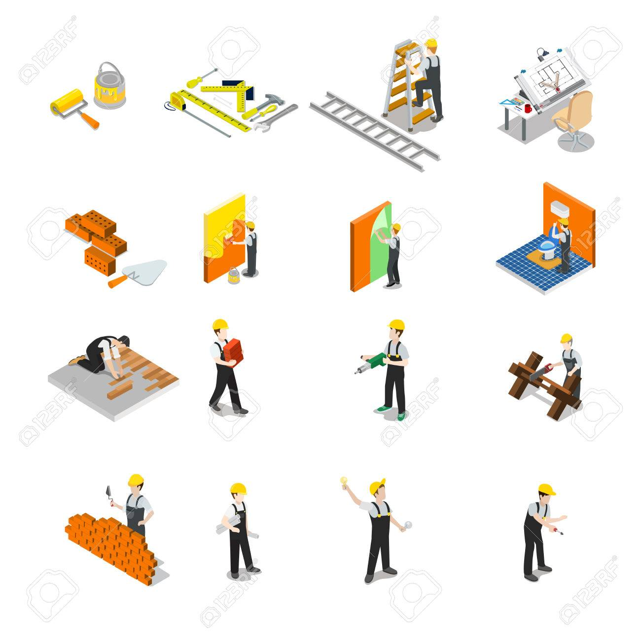 Flat isometric Construction professional icons. - 75850081
